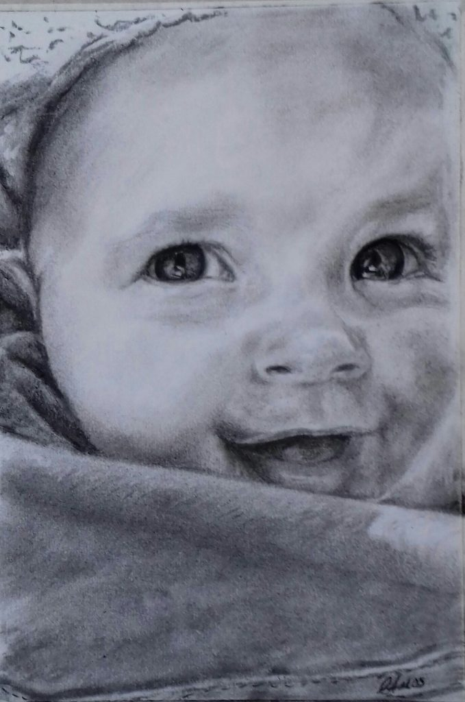 Baby drawn in charcoal by Christopher Amos
