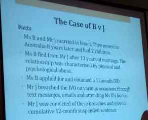 First slide describing the divorce case of B v. J by Talya Faigenbaum
