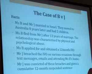 First slide describing the divorce case of B v. J by Talya Faigenbaum