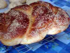 braided sesame Sabbath challah