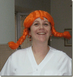 Susie New Day New Lesson in her Purim wig
