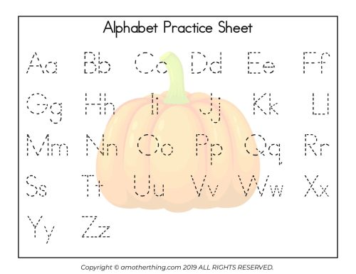 small resolution of Free Printable Autumn ABC Writing Practice Worksheets