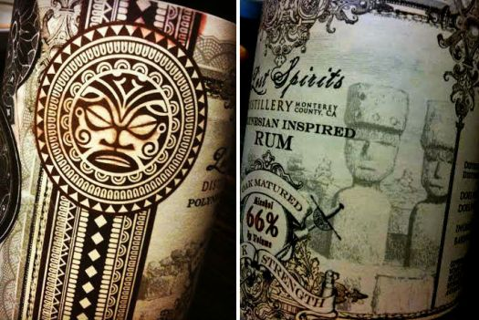 Poly Insp Rum label tiki and moai