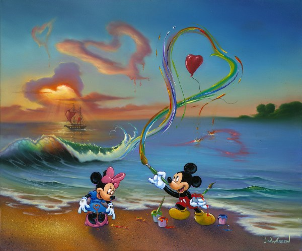 Jim Warren Fine Disney Art Mickey Hopeless Romantic Original Oil