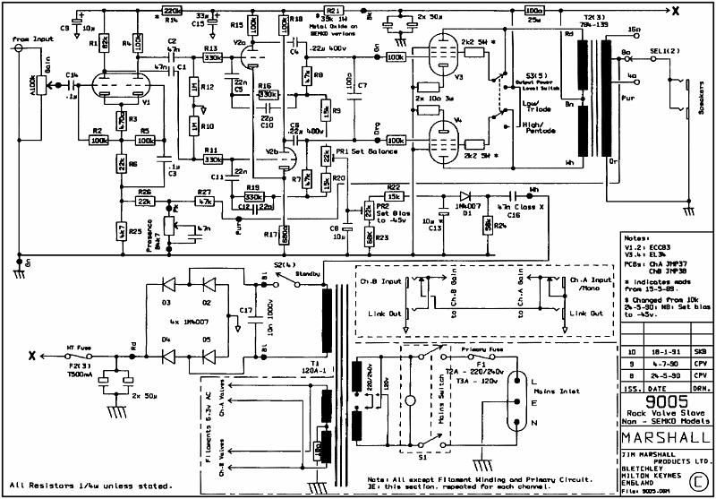 Marshall Model #9005 Valve Power Amp