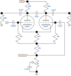 fender bassman 5f6 a long tailed pair phase inverter schematic [ 1841 x 1362 Pixel ]