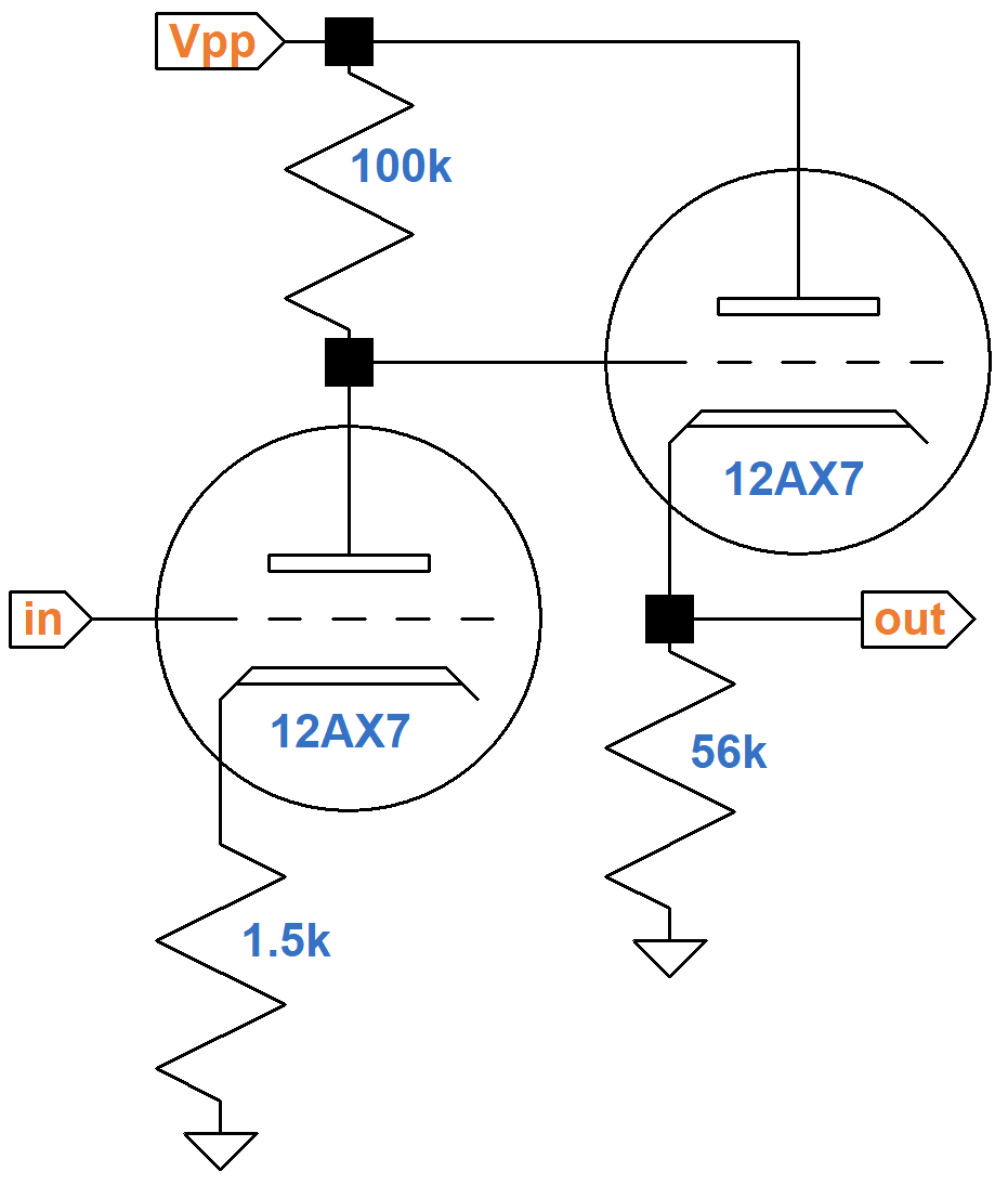 hight resolution of vox ac30 second stage voltage amplifier