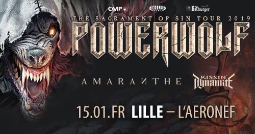 Blitzkrieg op Rijsel met Kissin' Dynamite, Amaranthe & Powerwolf @ L'Aéronef – Lille  – FR