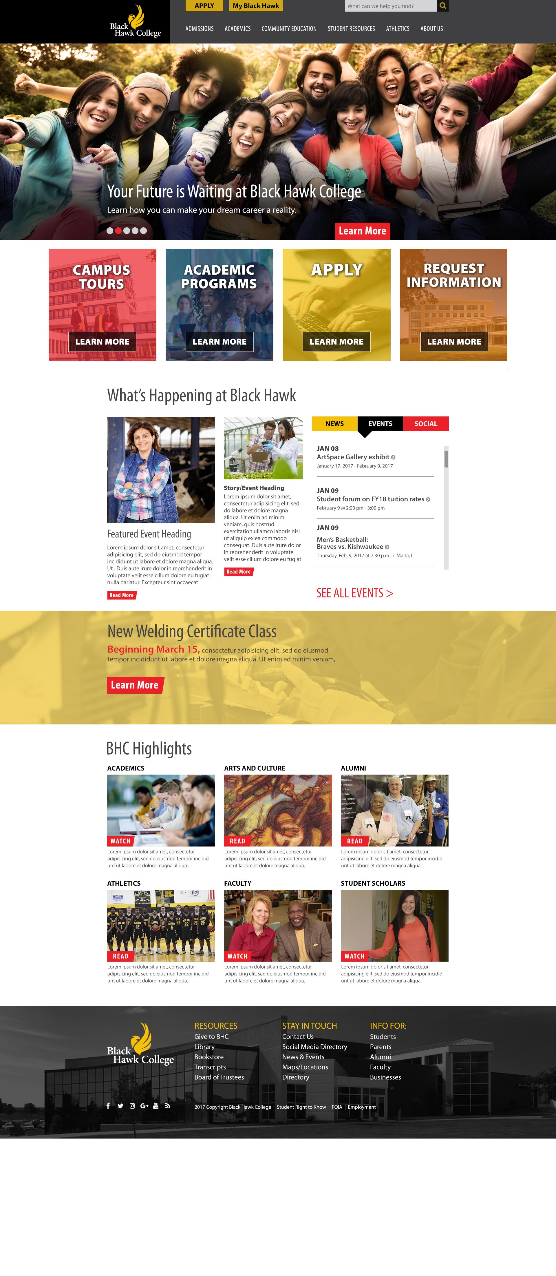Black Hawk College - Design #2 Homepage