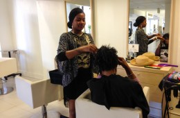 Jocelyn Nicole Brown, a stylist at Neihule Salon, meets with a client.