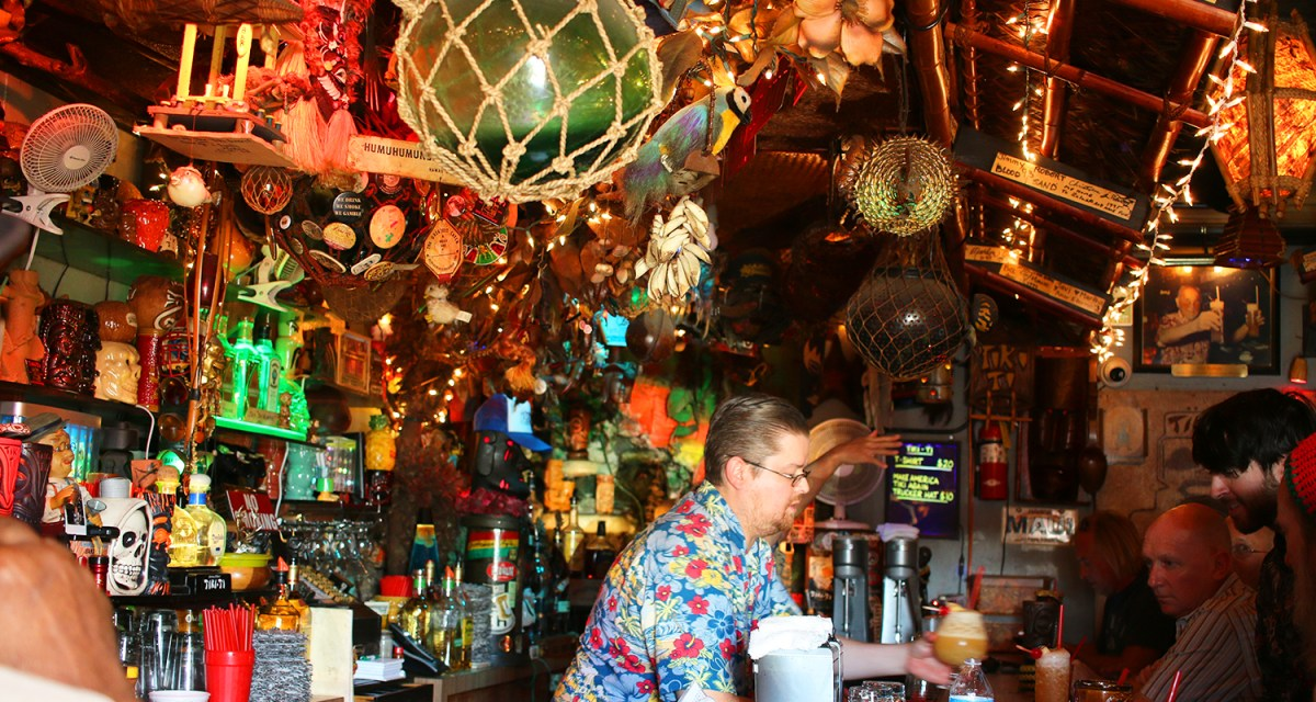 The scene inside the Tiki-Ti, one of the longest running tiki bars in Los Angeles, the birthplace of tiki bars and culture.