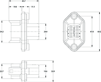 AT04-08PA-PM05 8-Way Flange Mount Receptacle with Gasket