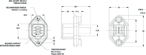 AT04-6P-PM05 6-Way Flange Mount Receptacle with Gasket