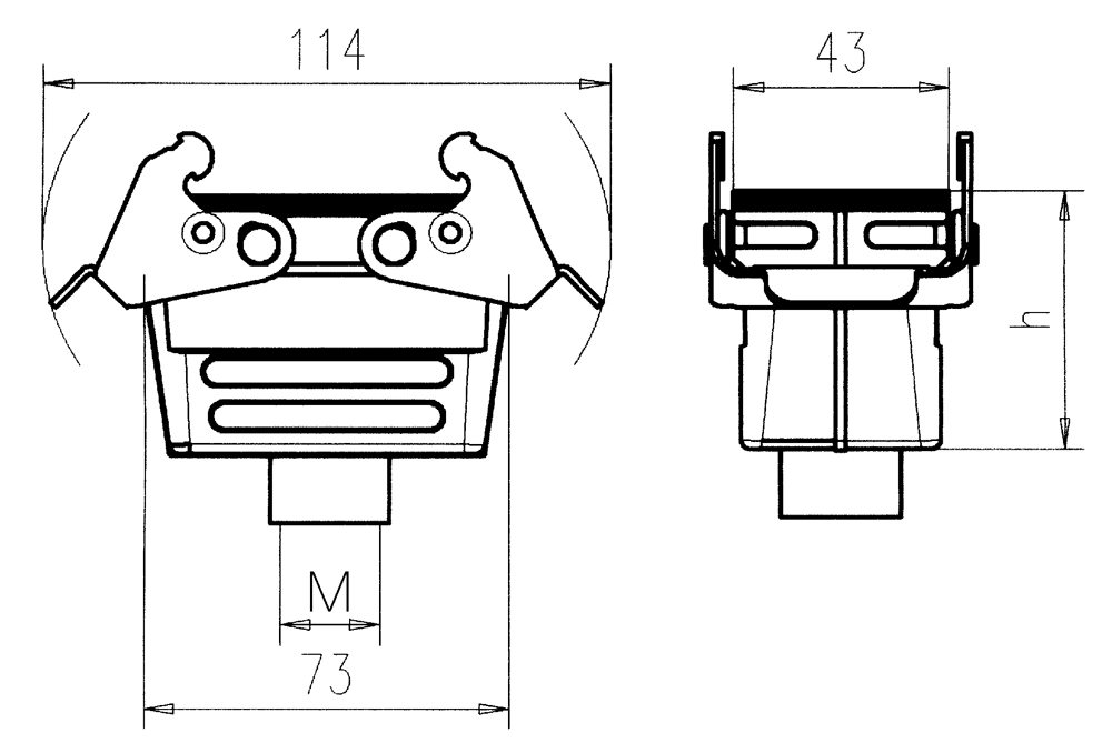 C146 21R010 802 1 Low profile hood for coupling