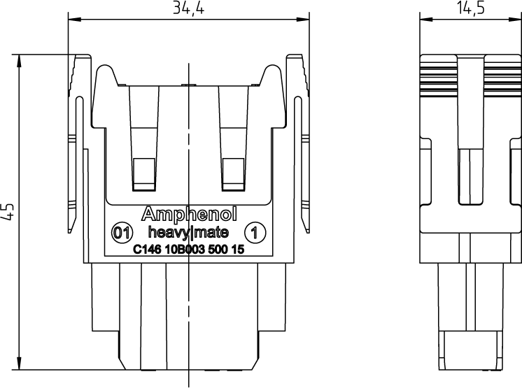 C146 10B003 600 15 Socket module for turned contacts, 3