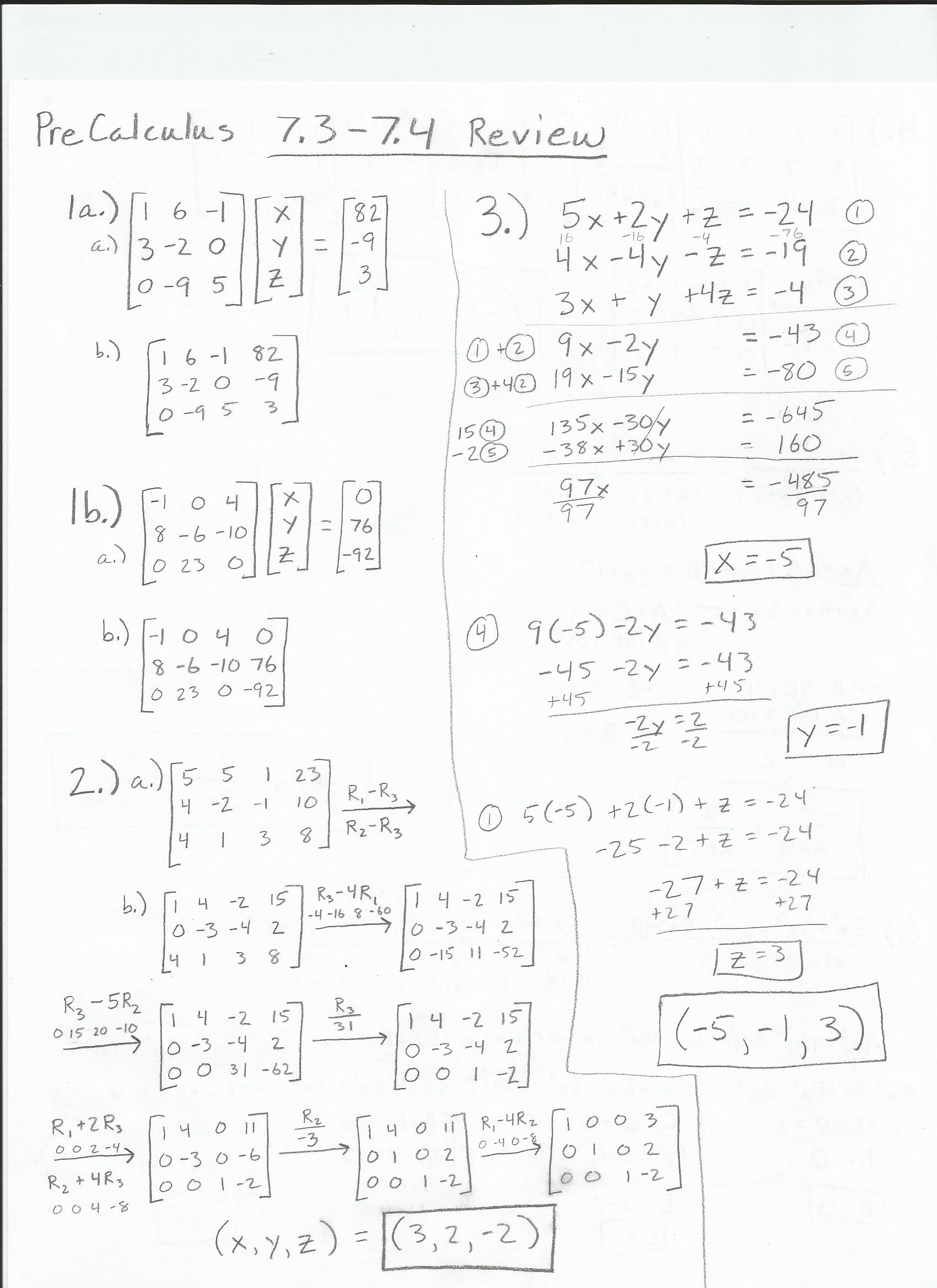 Precalculus Worksheets With Answers Image collections