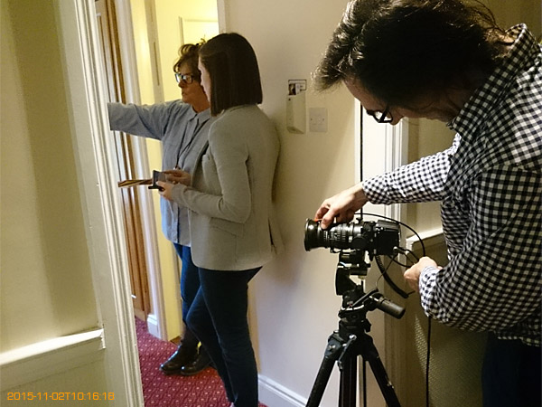 Behind the scenes during the bedroom shoot at the Hodson Bay Hotel.