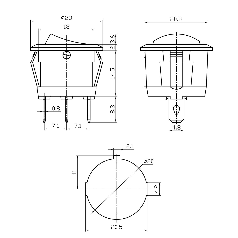 SW-WARNING Schalter, 1xE/A, orange/gelbe LED (12-24 Volt DC)