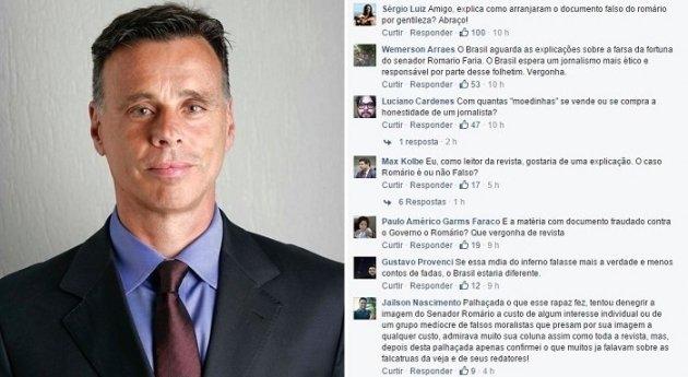 Lauro Jardim, um dos editores da Veja, é questionado no Facebook sobre as acusações caluniosas contra Romário.