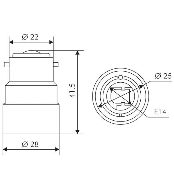 Adaptateur Douille B22 Vers E14 Blanc Girard Sudron Ampoules Service
