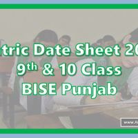Matric Date Sheet 2021 (9th & 10) All BISE Boards of Punjab