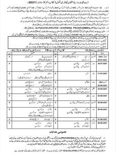 Matric Date Sheet 2021 Class 10 BISE Punjab