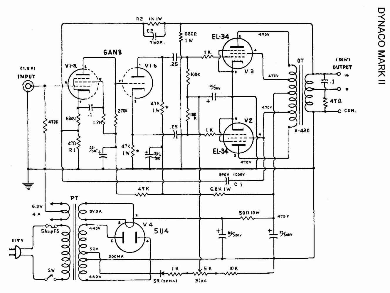 Dynaco Dynakit Mark Iii Tube Amplifier Schematic Auto Electrical Modified Williamson Ampslabcom