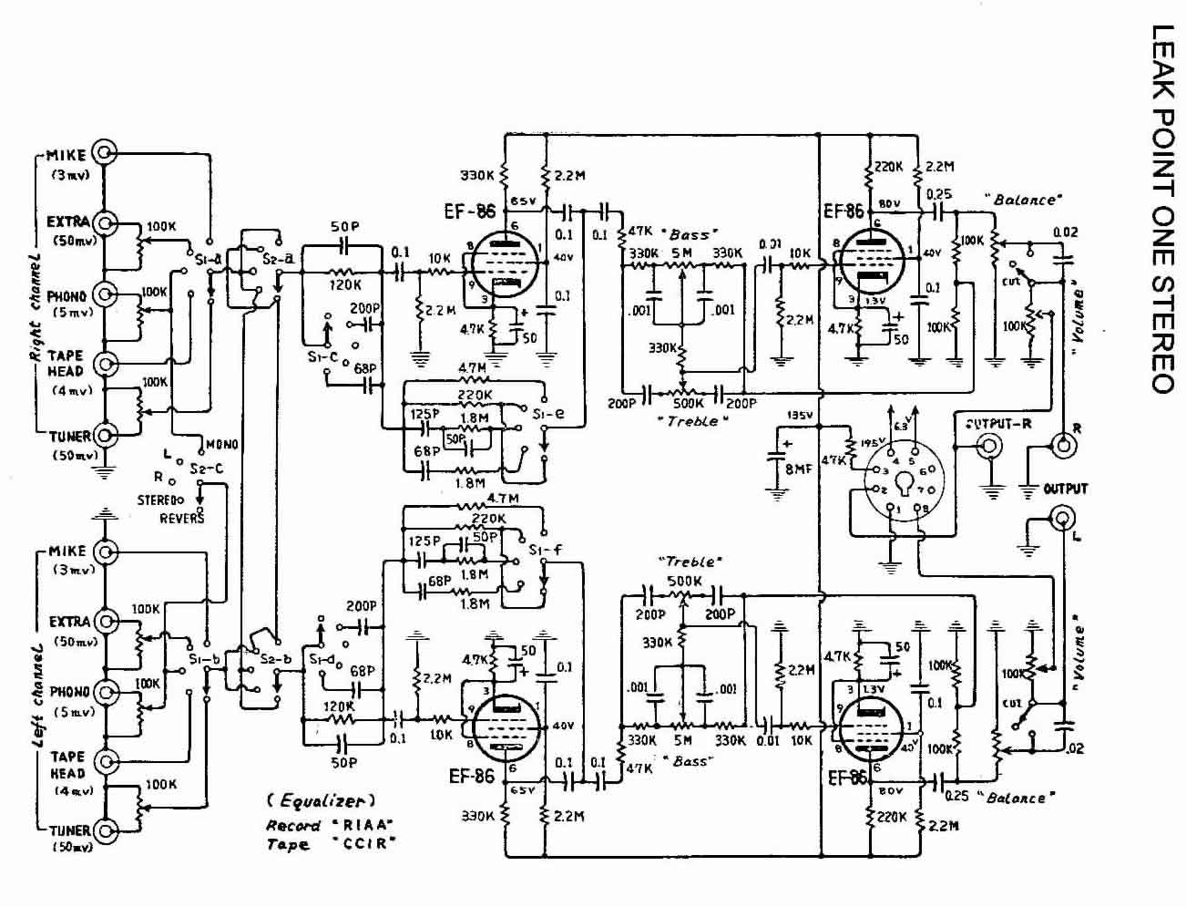 Vacuum Tube Stereo Preamplifier Schematic
