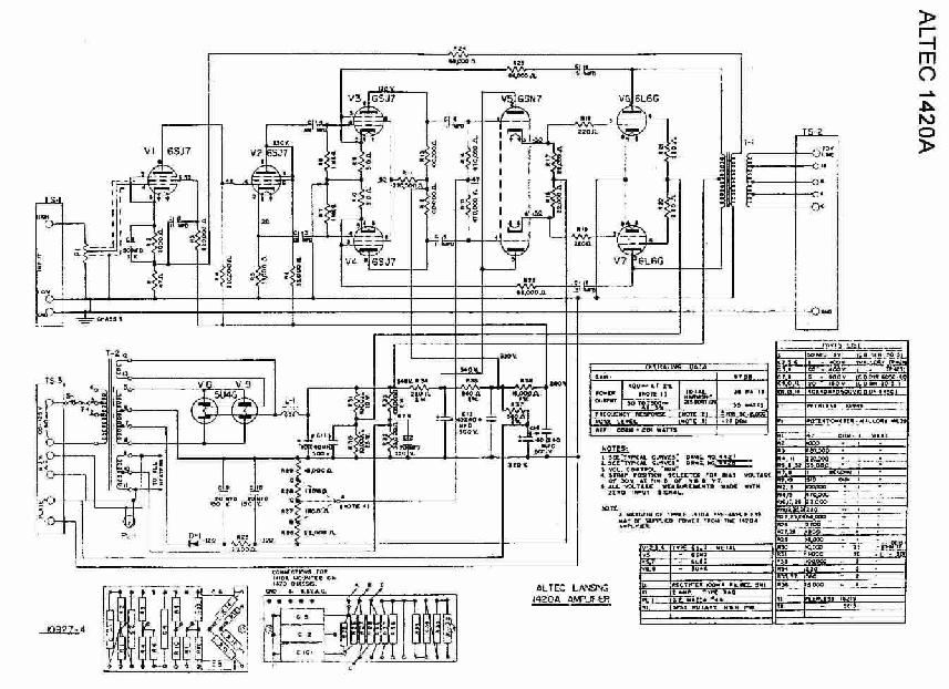 Pin Schematic Altec Lansing 1420a Tube Amplifier