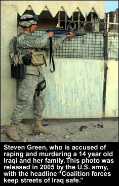 Steven Green, accused rapist and murderer, and a painfully ironic headline