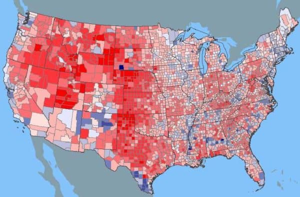 2000 Presidential Election Map by County