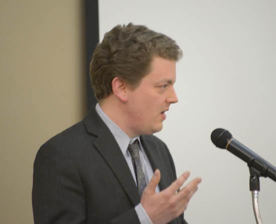 John Morgan speaking at the 2014 American Renaissance Conference.