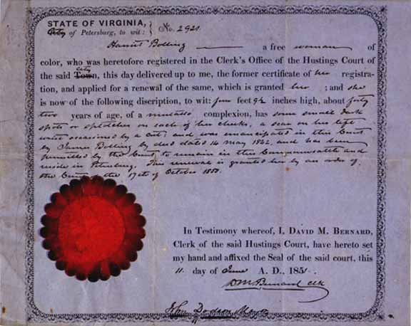 Certificate of freedom for the mulatto Harriet Bolling.