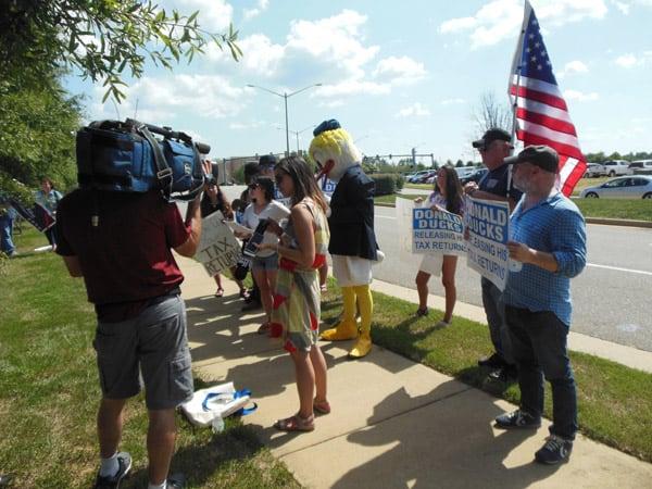 Protesters on Sidewalk