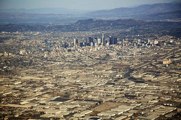 Aerial view of cityscape, Los Angeles, California, USA
