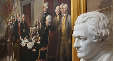 December 4, 2018 - Washington, DC, USA - A statue of  Alexander Hamilton and the Painting by John Trumbull of the signing of the Declaration of Independence in the Rotunda of the United States Capitol.. Photo by Dennis Brack  (Credit Image: © Dennis Brack/Black Star/Newscom via ZUMA)