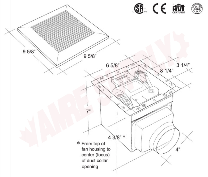 BPT12-02A : Pro-Spec Bathroom Exhaust Fan, 50 CFM
