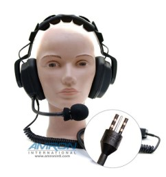 amron international model 2460 20 standard headset with eo connector and spiral cord [ 1000 x 1000 Pixel ]