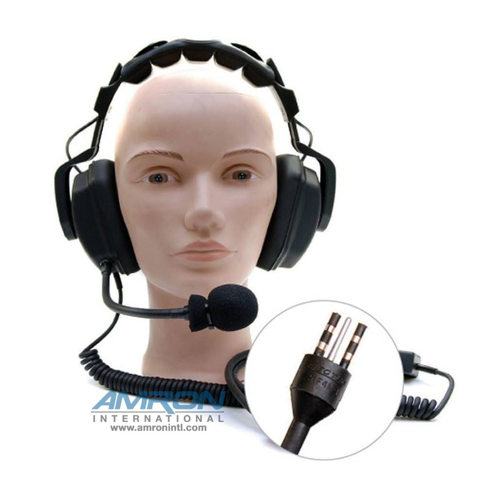 hight resolution of amron international model 2460 20 standard headset with eo connector and spiral cord