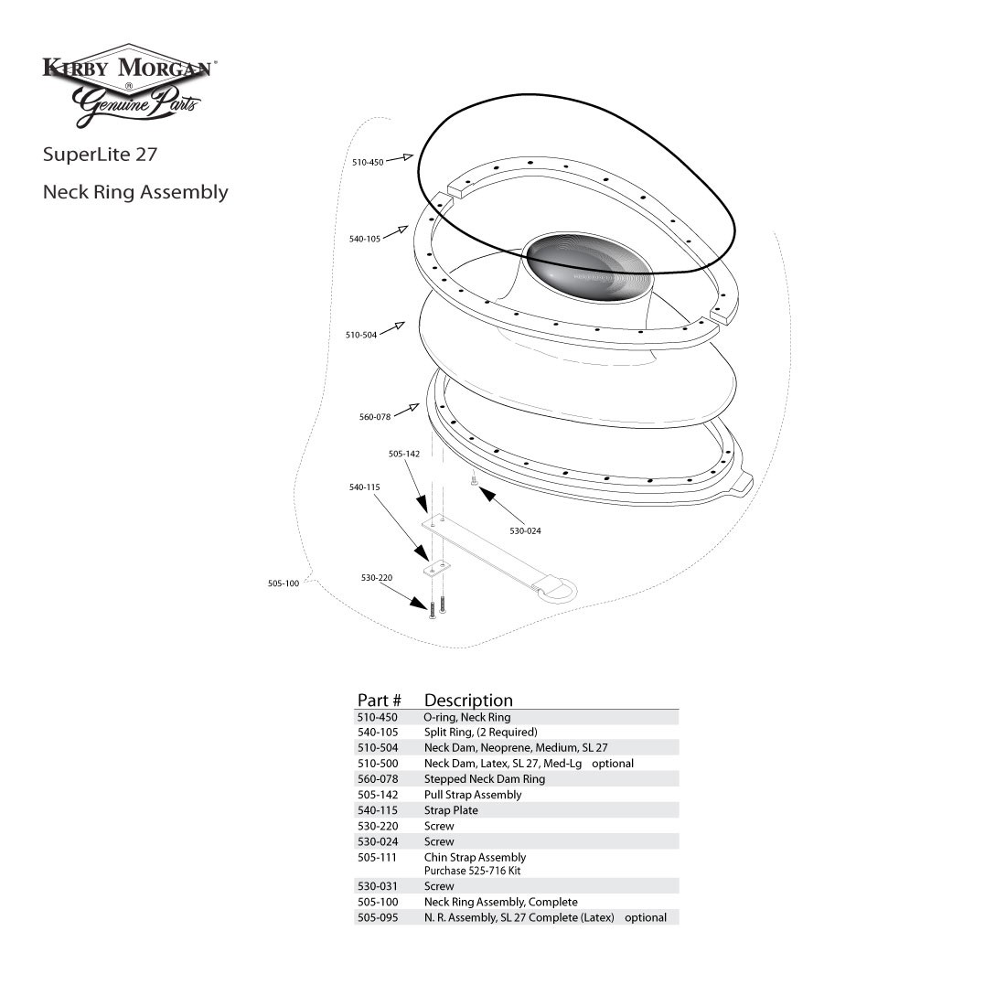 Kirby Morgan Neck Ring Assembly SuperLite 27 505-100