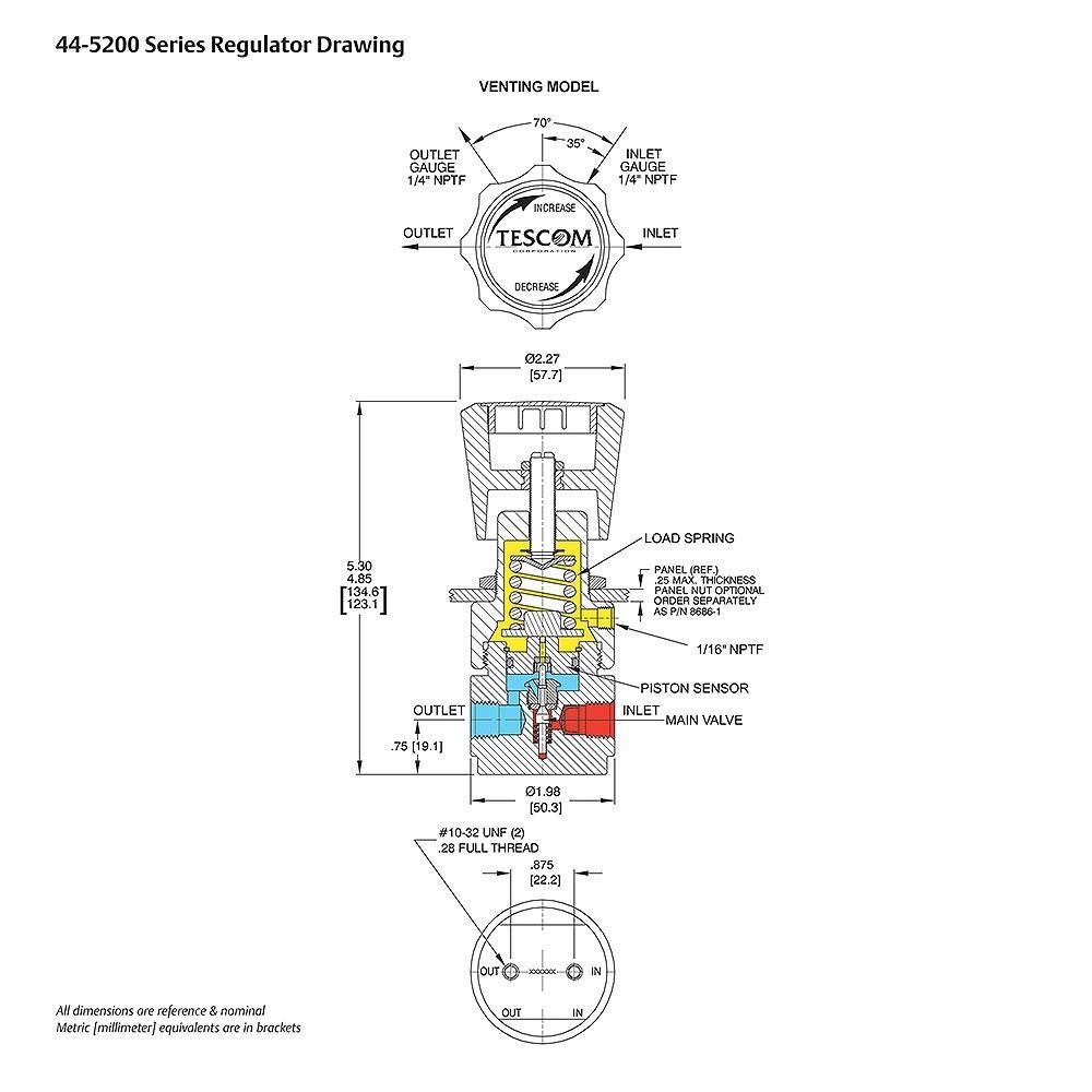 Tescom Pressure Reducing Regulator Venting 5-600 PSIG