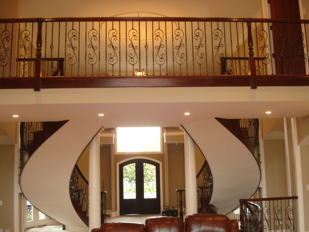 Wood Spiral And Curve Staircase Design Amron Stair Works | Knotty Alder Stair Railing | Distressed | Diy | Interior | Indoor | Wood