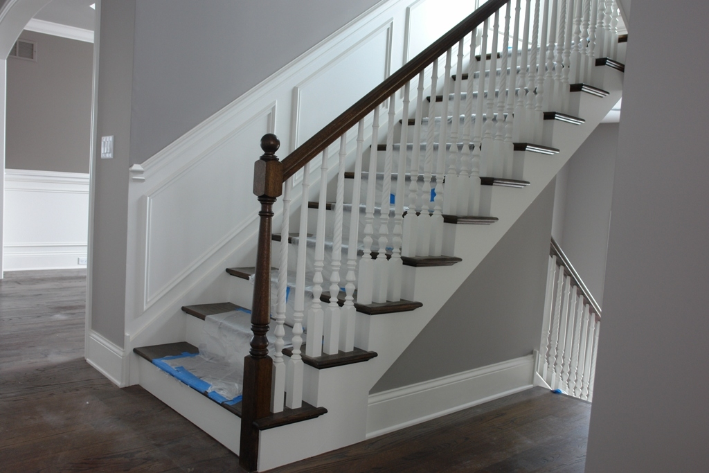63 Two Tone Partial Open Stair With 4010 Newel 6010 Top Rail | Two Tone Stair Railing | White | Indoor | Antique | Mansion | Country Style