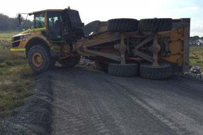 articulated dump truck rolled