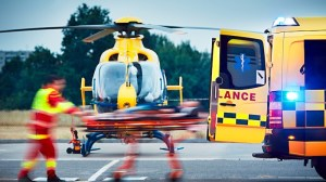 emergency helicopter transferring mine worker to hospital following roof bolter accident
