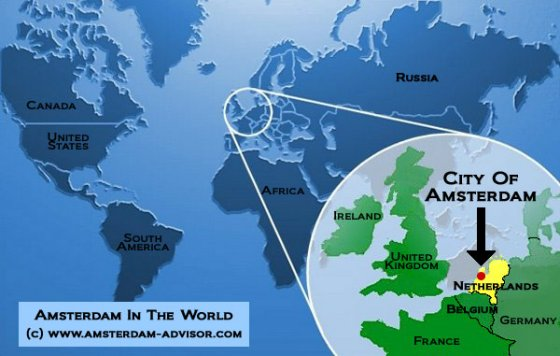Where Is Amsterdam Location of Amsterdam on the World Map