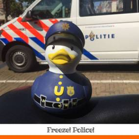 Robber ducks, you better watch out. There's a new sherif in town! @ Nieuwmarkt Amsterdam
