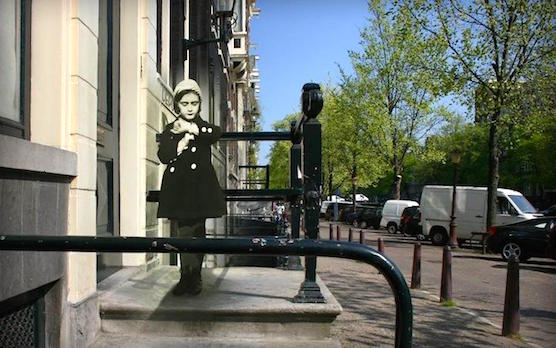 Anne Frank photoshopped in the current situation of Amsterdam.