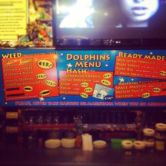 Amsterdam's coffeeshop Dolphins Menu