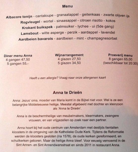 Restaurant Anna Amsterdam Red Light District Menu